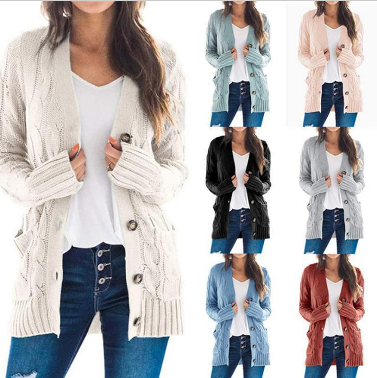 sweater women 2020 autumn / winter new women's casual cardigan jacket twist button cardigan Women's sweater