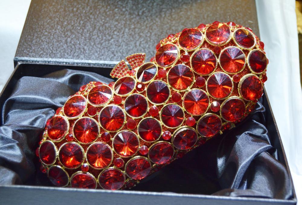 Akşam Çanta Tasarım Debriyaj Çanta Kırmızı Lüks Kristal Akşam Çanta Kadın Parti Çanta Gelin Düğün Günü Debriyajları Soiree Pochette SC2981 AME8