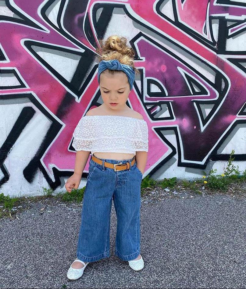Çocuklar Giyim Setleri Kız Kıyafetler Bebek Giysileri Çocuk Takım Elbise Yaz Çocuk Giyim Dantel Kot Pantolon 2 adet B7596