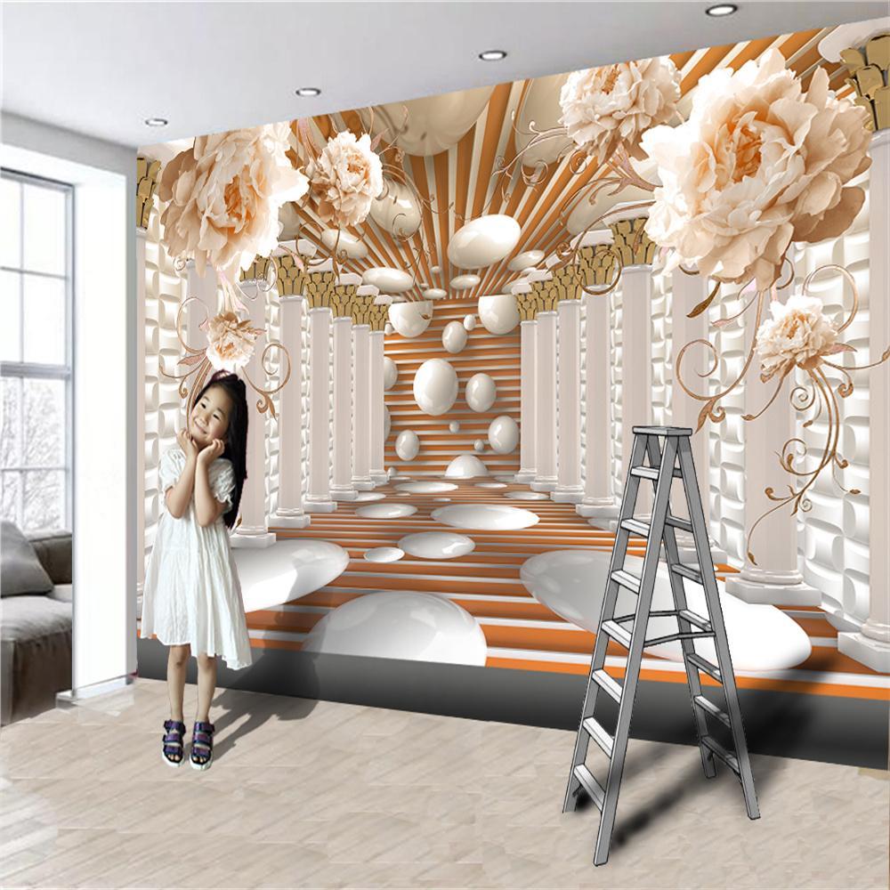 사용자 정의 럭셔리 3D 꽃 벽지 유럽 우아한 peon 로마 열 확장 TV 배경 벽 그림 배경 화면