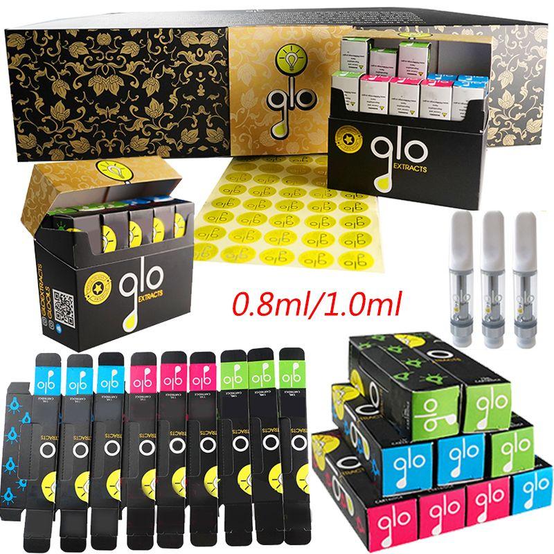 GLO Extracts Cartridges Tape Cartridges Упаковка 0,8 мл 1,0 мл Распылители Тележки Ceramic Coil Пустой DAB Peen Cartridge Vaporizer