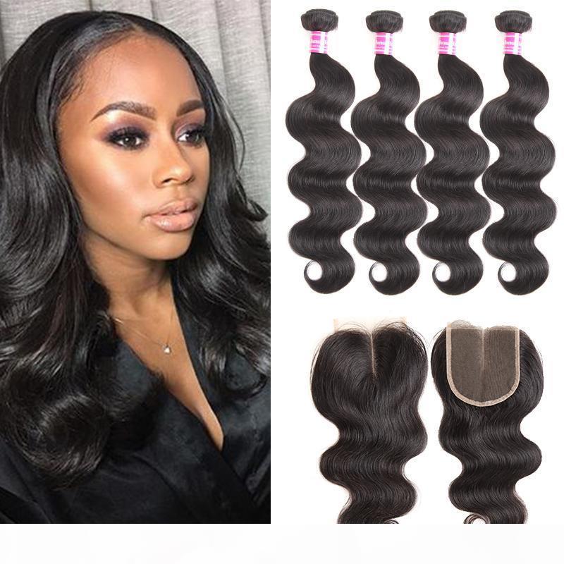 Mink Brazilian Body Wave Hair Weaves 4 Bundles with Closure Remy Virgin Human Hair Extensions Soft Best Sale Cheap Daily Deals Wholesale