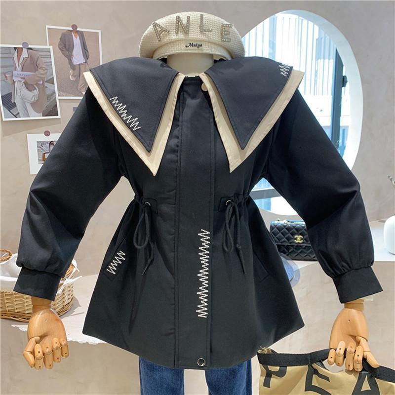 Women's Trench Coats Clothing 2021 Autumn Winter Lace Up Sailor Collar Windbreaker Versatile Thin Coat Jacket