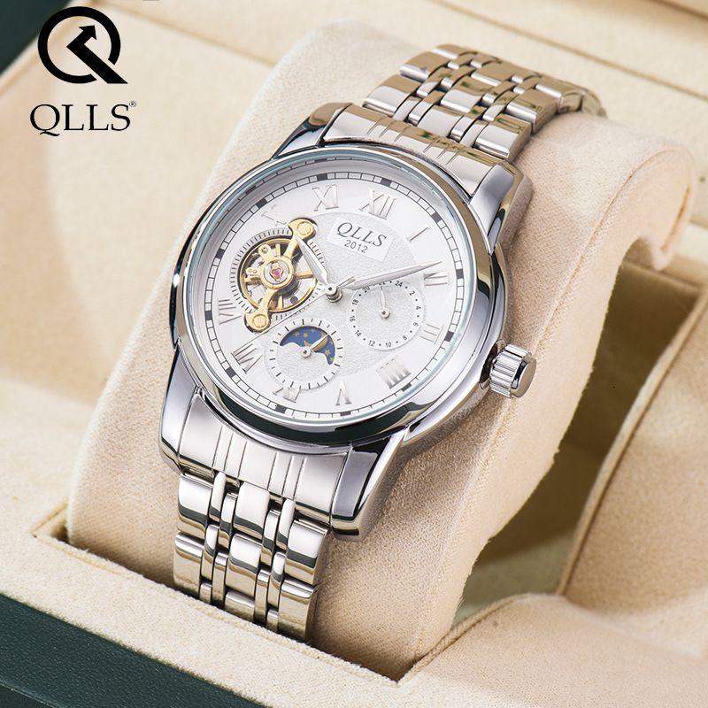 Qlls relógio masculino mecânico totalmente automático à prova d 'água luminosa broca dupla face oco tourbillon seis pin