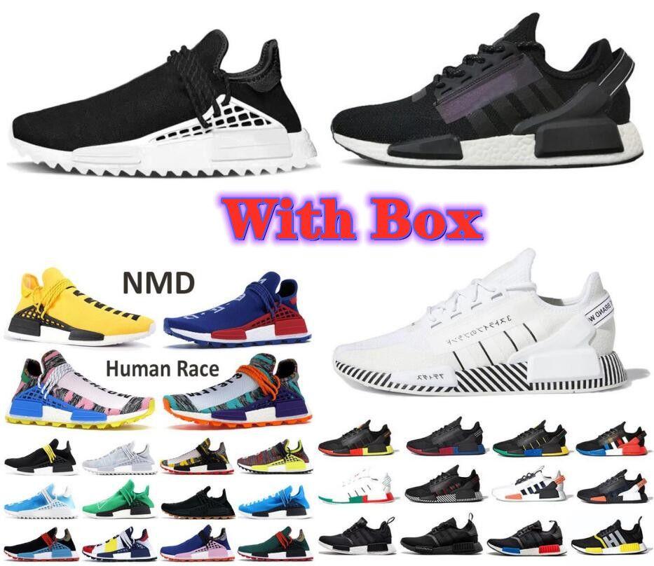 NMD Pharrell Williams حزمة الشمسية الأم بي بي سي أسود أصفر رجل إمرأة سباق الإنسان الاحذية شاحب nerd nerd كريم أحذية مع صندوق
