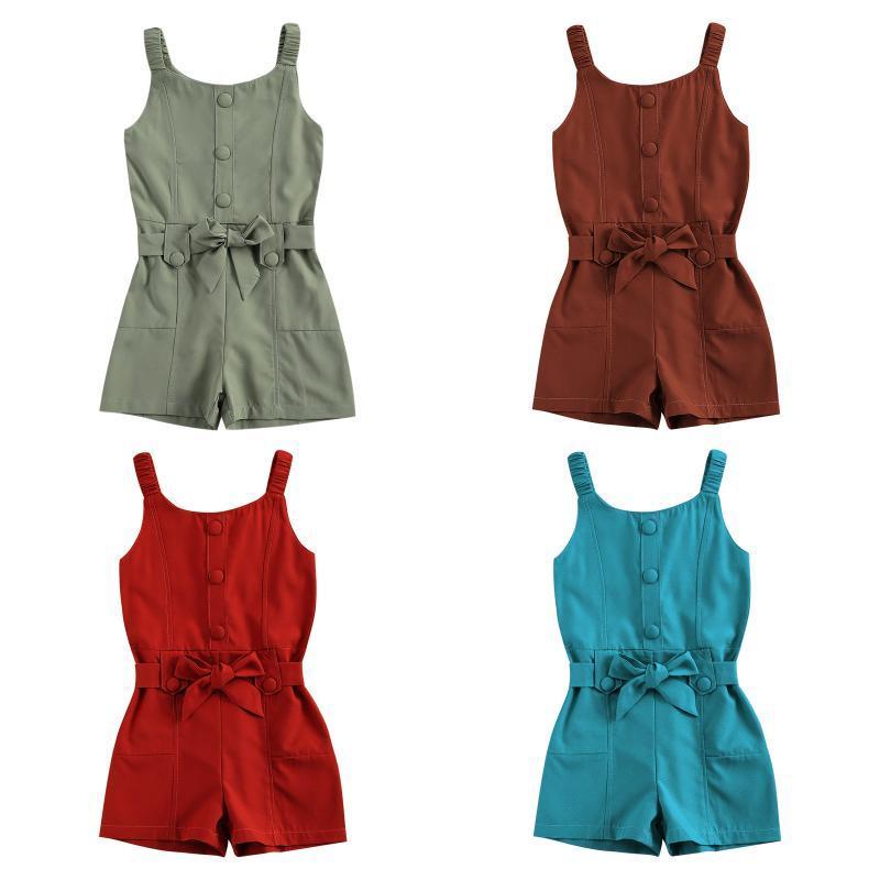 Jumpsuits Kind Mädchen Button Dekoration Massivfarbe Playsuit Infant Sleeveless Tank Strampler Mode Kleidung Für Mädchen 1-5Years