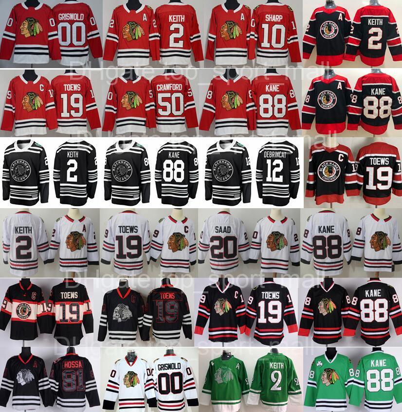 Reverse Retro Chicago Blackhawks Jersey Hockey Duncan Keith 19 Jonathan Toews Patrick Kane Crawford Alex Debrincat Kirby Dach Clark Griswold 8 Dominik Kubalik