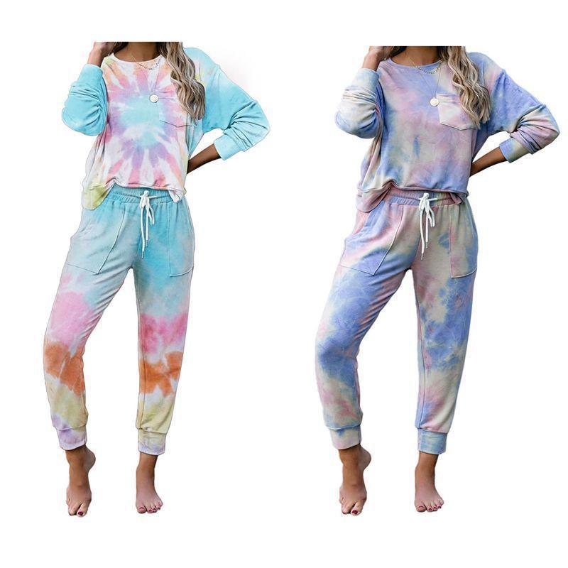 Otoño e invierno 2021 New Tie Teñido ropa de hogar Moda de mujer Manga larga Pantalones Suéter Pijamas Traje