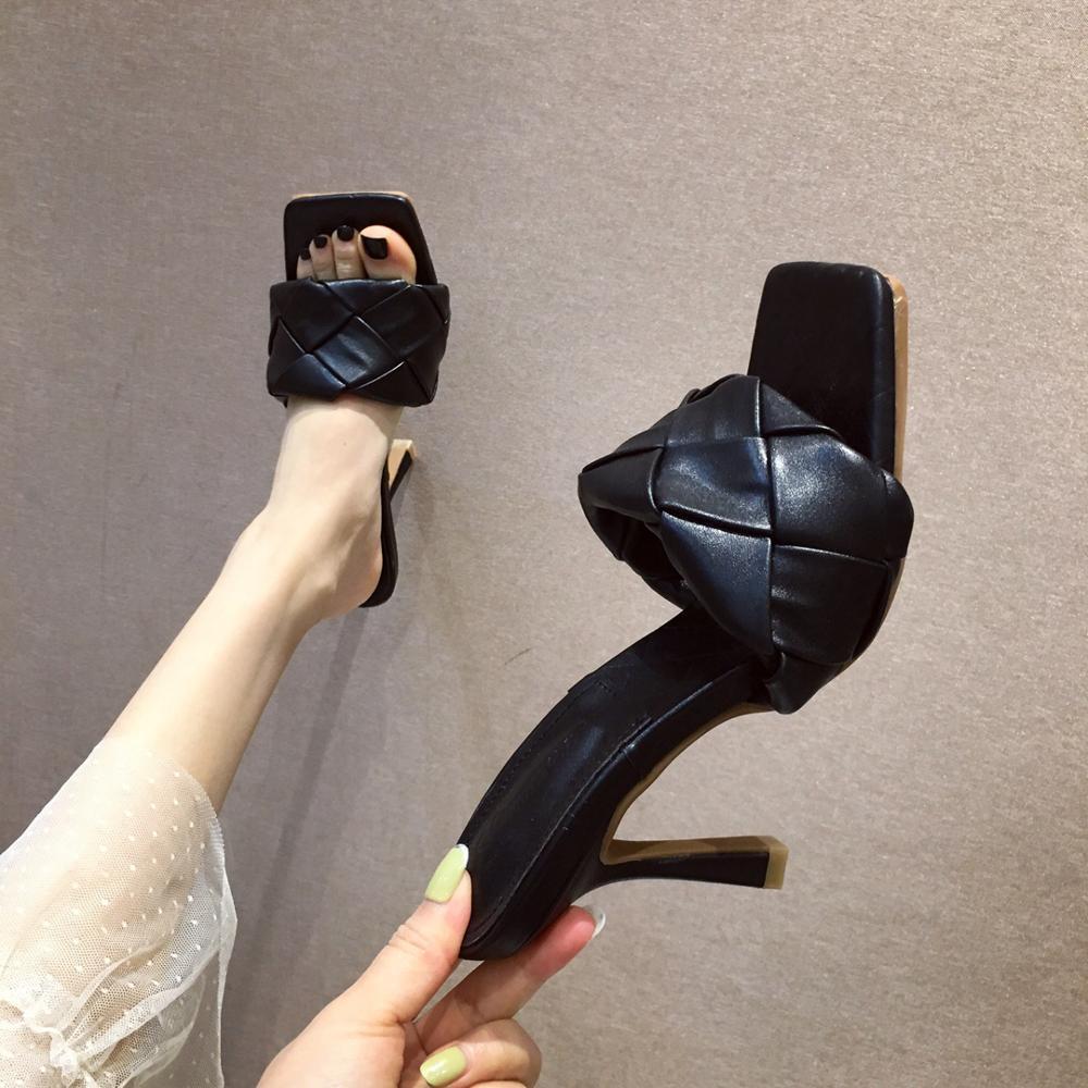 Nouvelle marque Design Chaussures Femme Slipers 2020 Summer Toe High Talons Sandales Sandales Femmes tissages de bonne qualité Chaussures de robe Blanc Bleu Y200620