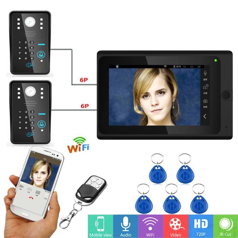 Video Door Phones 7inch Wired / Wireless Wifi RFID Password Phone Doorbell Intercom Entry System With 2 X 1000TVL Camera Night Vi