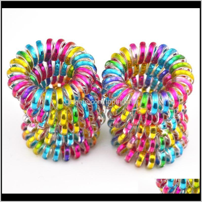 Accessories Wholesale 100Pcs Lot Colorful Telephone Wire Cord Line Gum Holder Elastic Band Tie Scrunchy 3 5Cm Children Hair Accessory Kcpje