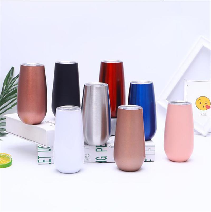 6oz Vacuum Insulated Wine Tumbler 20 Colors Coffee Mugs Stainless Steel Champagne Cup Party Wedding Gift sea ship GWB10593