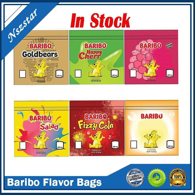 600mg Baribo Çanta Çantanabilir Yayımlar Goldbears Mutlu Kiraz Çilek Meyve Salatası Fizzy Kola Şeftali Boş Mylar Ambalaj 6 Renkler DHL