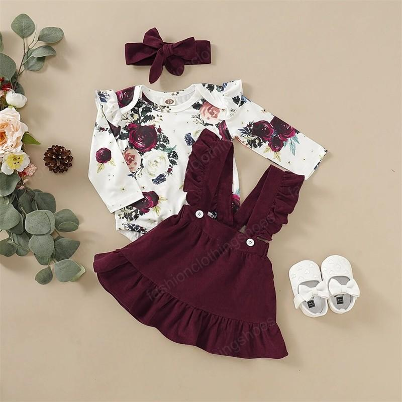 Baby Girl Clothes Set Floral Bodysuit Romper Jumpsuit Tops T Shirt Suspender Skirts Bow Headband Outfit