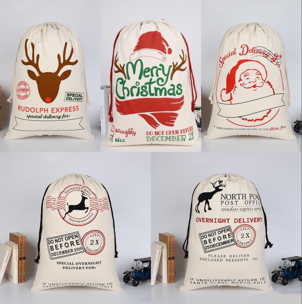 عيد الميلاد سانتا أكياس قماش أكياس القطن كبير العضوية الثقيلة الرباط هدية أكياس شخصية مهرجان حزب عيد الميلاد الديكور dhl سفينة FY4842