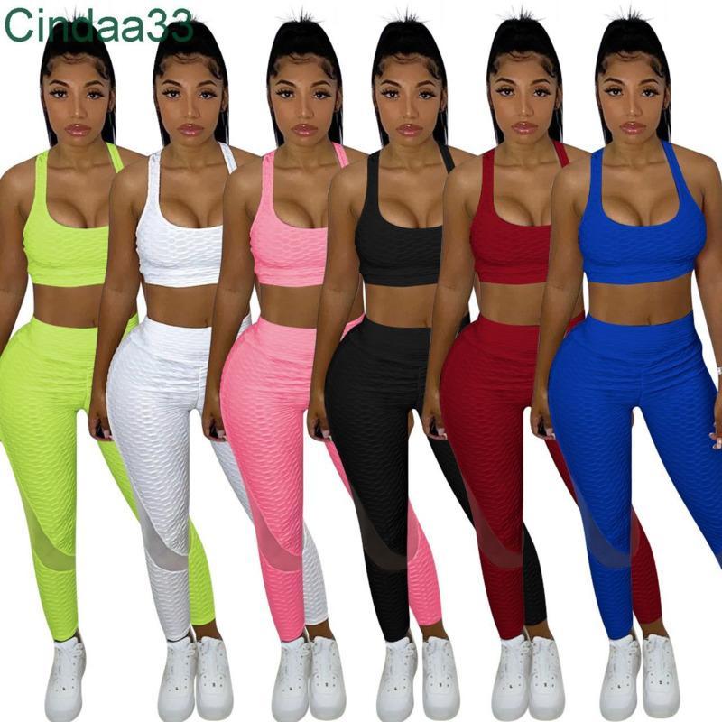 Kadın Eşofman T-shirt Şort Tasarımcı Katı Renk 2 Parça Jogger Setleri Yoga Kıyafetler Kolsuz Pantolon Spor Giyim Artı Boyutu Sportwear