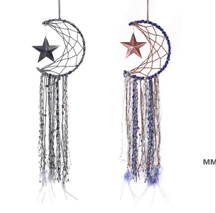 Dreamcatcher Bells Hang Moon Star Catcher Dreamcatcher Piuma Dream Catcher Pendente Parete Appeso Della Stanza Decorazione HWE6882