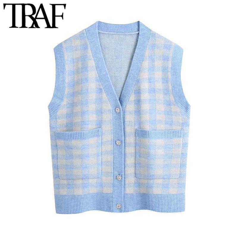 Traf frauen mode übergroß prüfung gestrickte weste pullover vintage v ner strass button weibliche weste schicke tops 210415