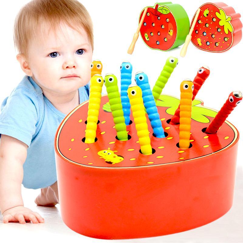 3D Montessori Toys Toys Caterpillar Mangia la mela Kids Catch Worms Combinati Puzzle Giochi Educazione precoce Interactive Math Toy 2262 V2