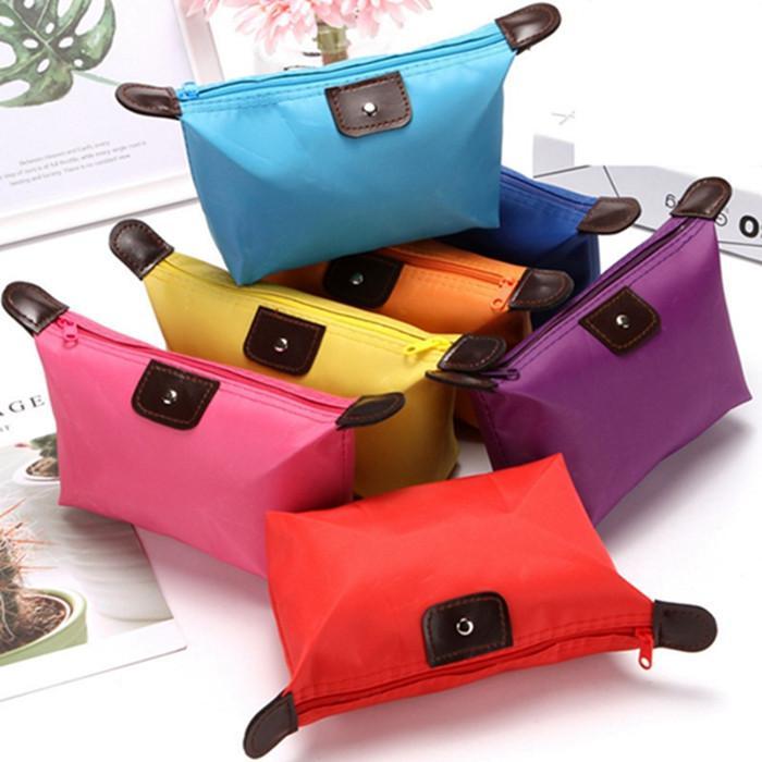 Top Quality Lady Makeup Pouch Impermeable Cosmetic Bag Clutch Kit de viaje Casual Pequeño Monedero Candy Sport 9 Colores ZWL273