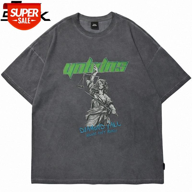 2021 Homens Hip Hop Oversize T Shirt Streetwear Homem Escalas Carta Impressão Lavada T-Shirt Harajuku Algodão de Manga Curta Tshirt Cinza # 1U46