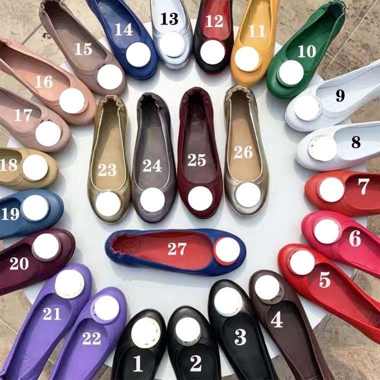 2021 Luxury Designer Vestido Zapatos Paris Ladies Cuero Cabeza Redonda Cabeza Ballet Pisos Casual Soft Heel Design