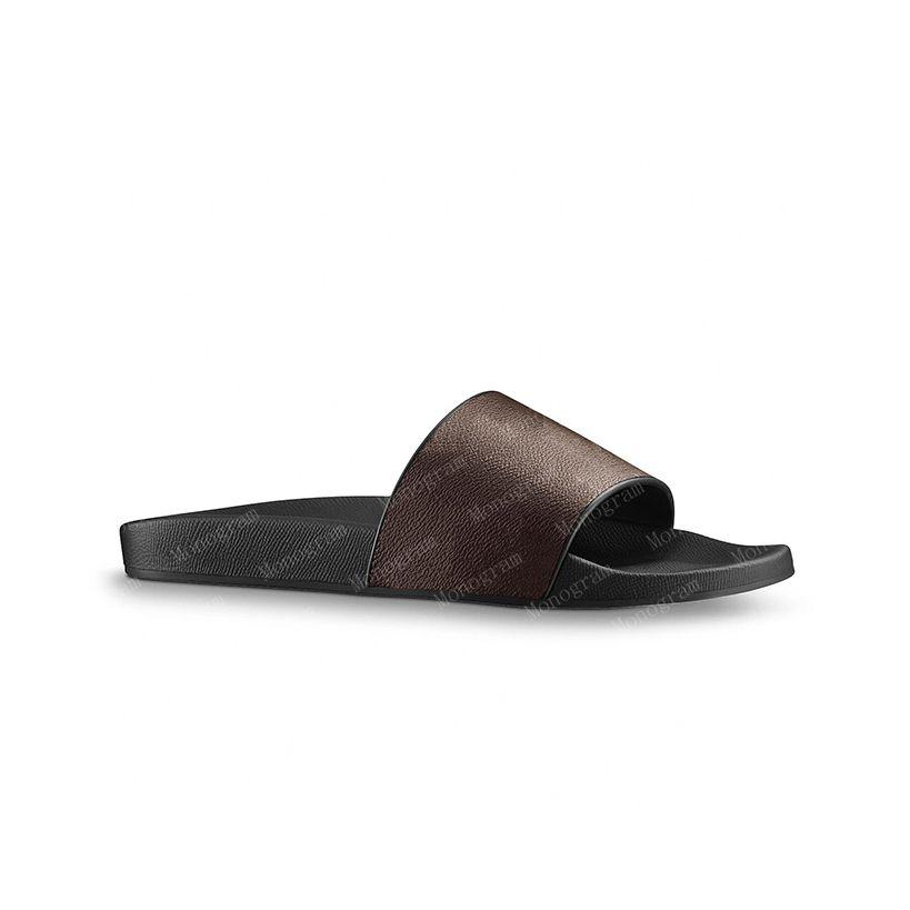 2021 Slipper Women Sandals Men Slides Waterfront Brown Sandal Sandalia de cuero para mujer Tacones altos Zapatos 36-46 con caja naranja y bolsa de polvo # LSL-01