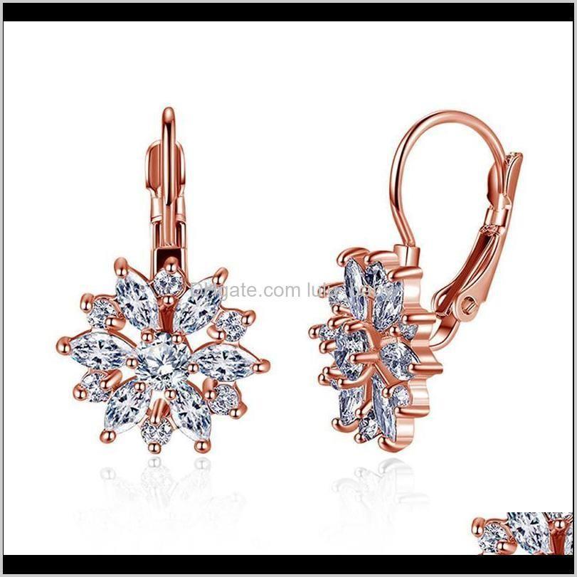 Dangle Avize Jewelry2021 Vintage Gül Altın Kristal CZ Bling Küpe Kadınlar Kızlar Için Noel Gfit Moda Düğün Takı Bırak Deliv