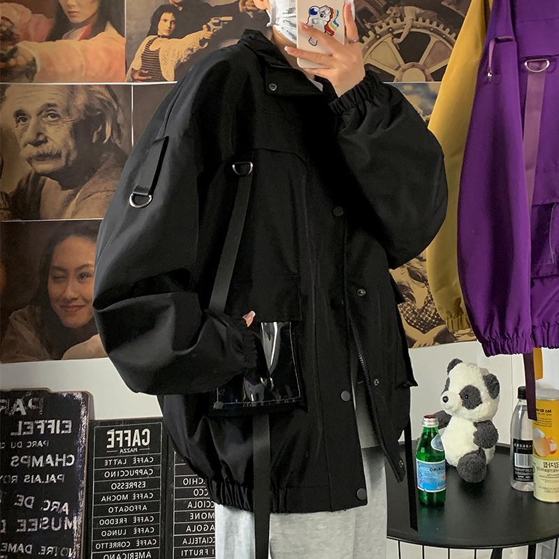 Männer Jacken Herren Jugend Fahsionsgurte Stehen Kragen Hip Hop Hop Cargo Jacke Mantel Outwear
