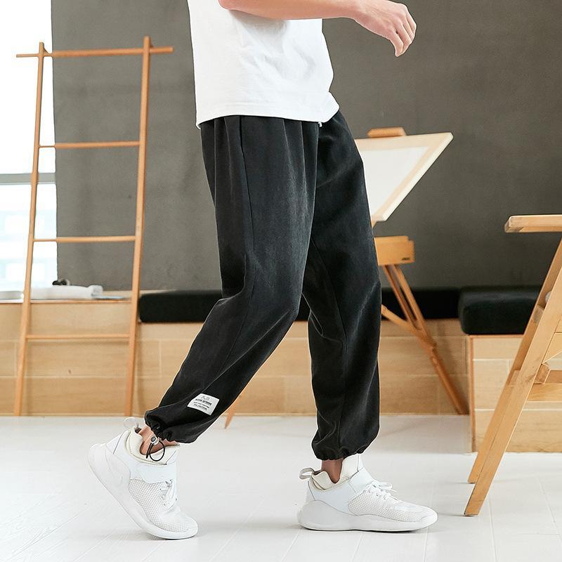 Hombres 2021 Primavera Nuevos Jóvenes Casual Corset Capris Pantalones Elásticos