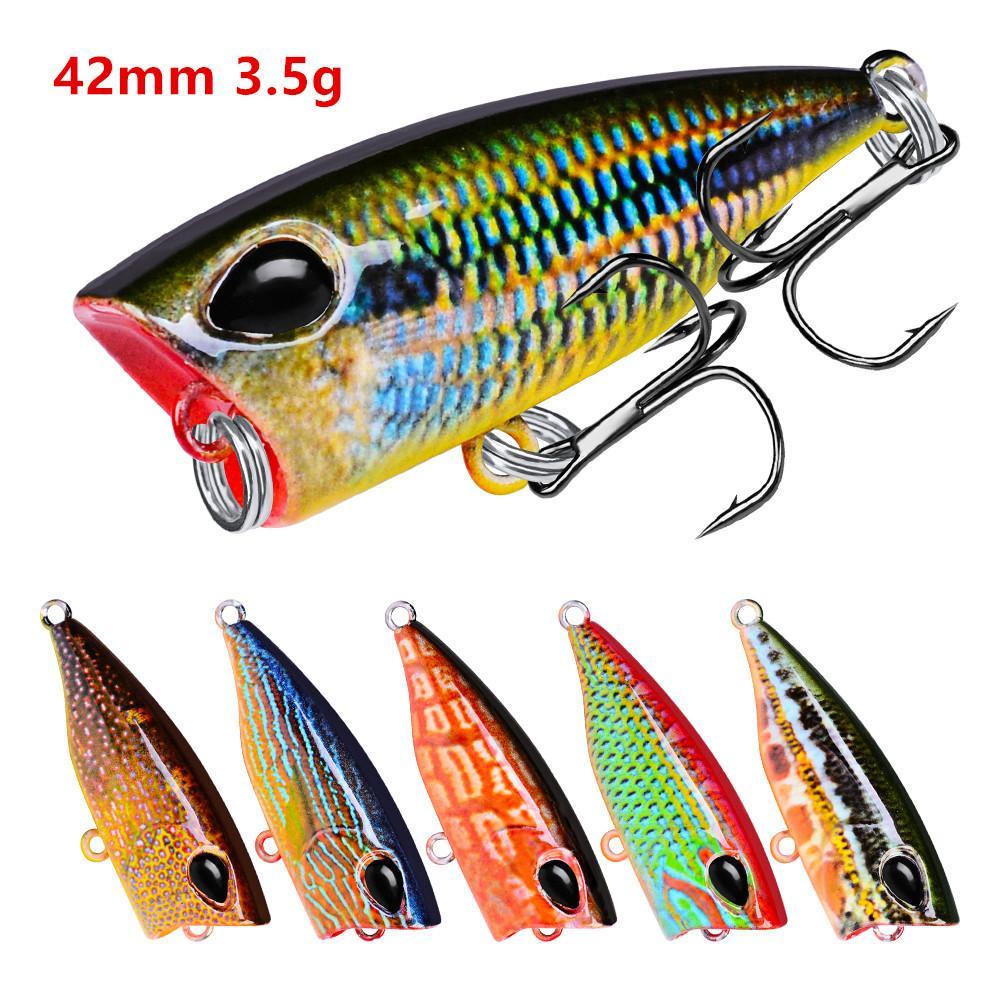 10 Renkler Karışık 3D Gözler Popper Plastik Sert Yemler Lures 42mm 3.5g 10 # Kanca Balıkçılık Kanca Pesca Aksesuarları Mücadele B86_300