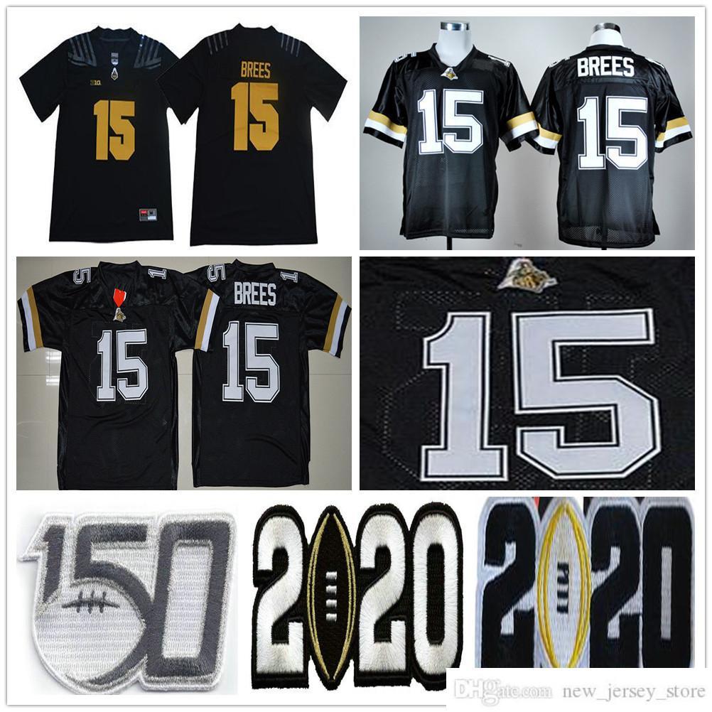 NCAA Purdue Boilermakers College Football Wear # 15 Drew Brees Jersey Home Black Steins University Jerseys Hombres Tamaños S-XXXL