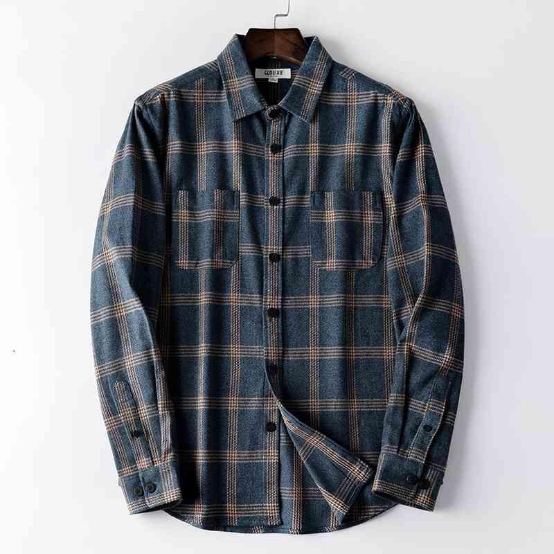 셔츠 맞춤 체크 무늬 코튼 캐주얼 플러스 사이즈 원사 염색 플란넬 긴 소매 남자 셔츠