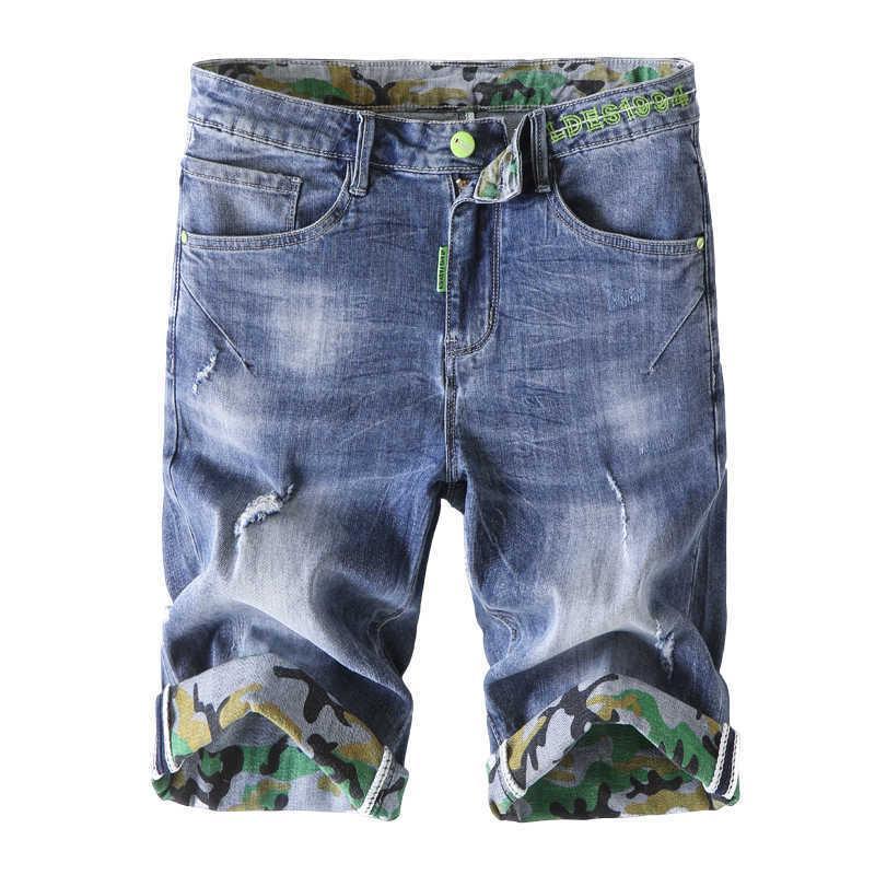 Shorts de denim décontracté d'été de l'été Mode tendance Marque haut de gamme Loose Stretch Jeans Male Classique Slim Pantalons 210531