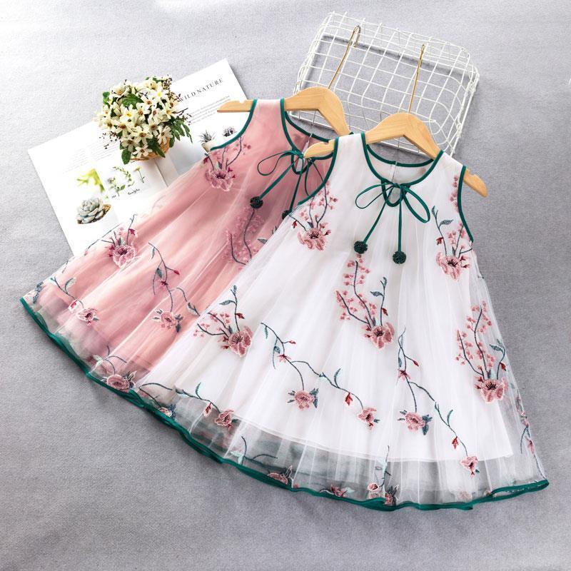 Girl's Dresses Korean Baby Girls Summer Dress Bowknot Sleeveless Casual Sundress Princess Print Toddlers Kids Lovely For2-10years