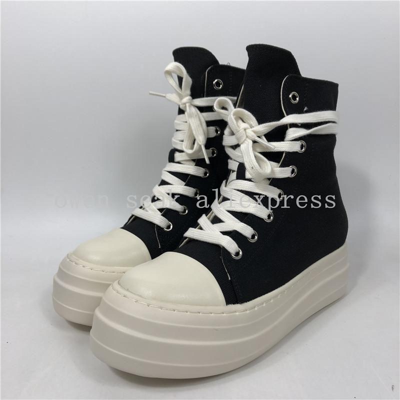 2021 أعلى جودة أوين سيكيور المرأة قماش الأحذية الفاخرة المدربين منصة الأحذية الدانتيل يصل أحذية رياضية الارتفاع عارضة زيادة الرمز البريدي الأحذية السوداء عالية