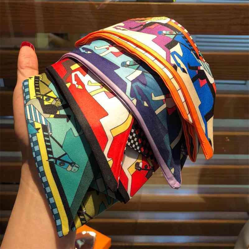 Écharpe en soie Accessoires de mode Femmes Trend Bande de cheveux Centrale Multicolore étroit peut être attaché autour de quatre couleurs européennes et américaines disponibles avec boîte-cadeau 5 * 90cm