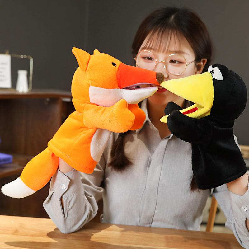 Cute soft animal plush toys cartoon fox crow stuffed hand puppets for kids pretend toys creative activity props