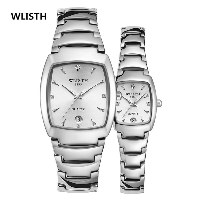 Ansehen Paar quadratisch Wasserdichte Stahlband Leuchtkalender Männer und Frauen Ein Paar Wlisth-Marke Armbanduhren