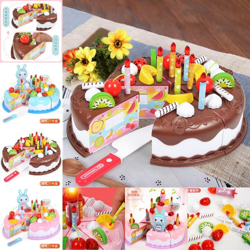 37pcs Kitchen Toys Cake Food DIY Pretend Play Fruit Cutting Birthday Toys for Children Plastic Educational Baby kids Gift GYH 1270 Y2