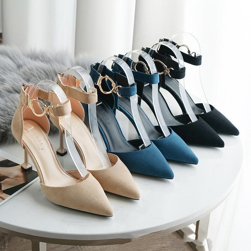Lianhuaxiang mulheres sandálias sapatos camurça simples fino fino salto alto mulheres pura cor zipper senhoras bomba de cúspide casual