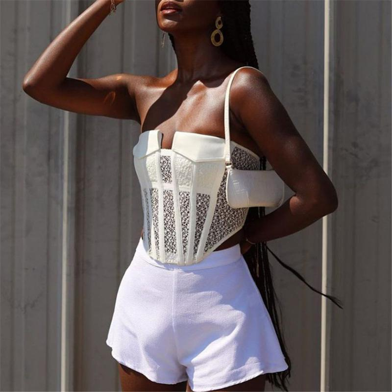 White Y2K Corset Tops E-Girl Summer Lace Pocket Hollow Out Sexy Short Slim Tube Top Female Fashion Indie Aesthetics Women 2021 Women's Tanks