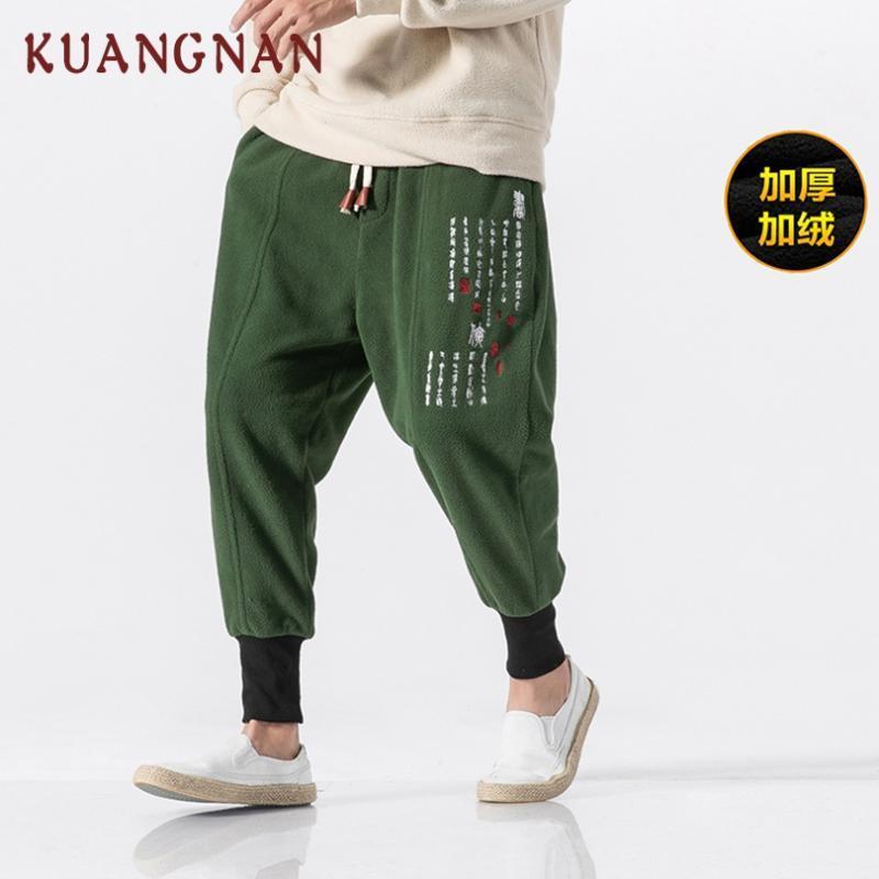 Men's Pants KUANGNAN Chinese Embroidery Woolen Pencil Men Sweatpants Thick Streetwear Hip Hop 2021 Joggers Casual