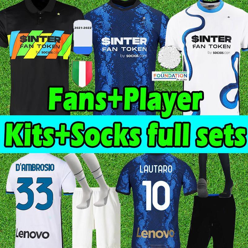 2021 2022 Inter Camisas de futebol Fans player version LUKAKU LAUTARO Eriksen ALEXIS Campioni jersey 21 22 Milan VIDAL MEN Kids kits socks full sets football shirts