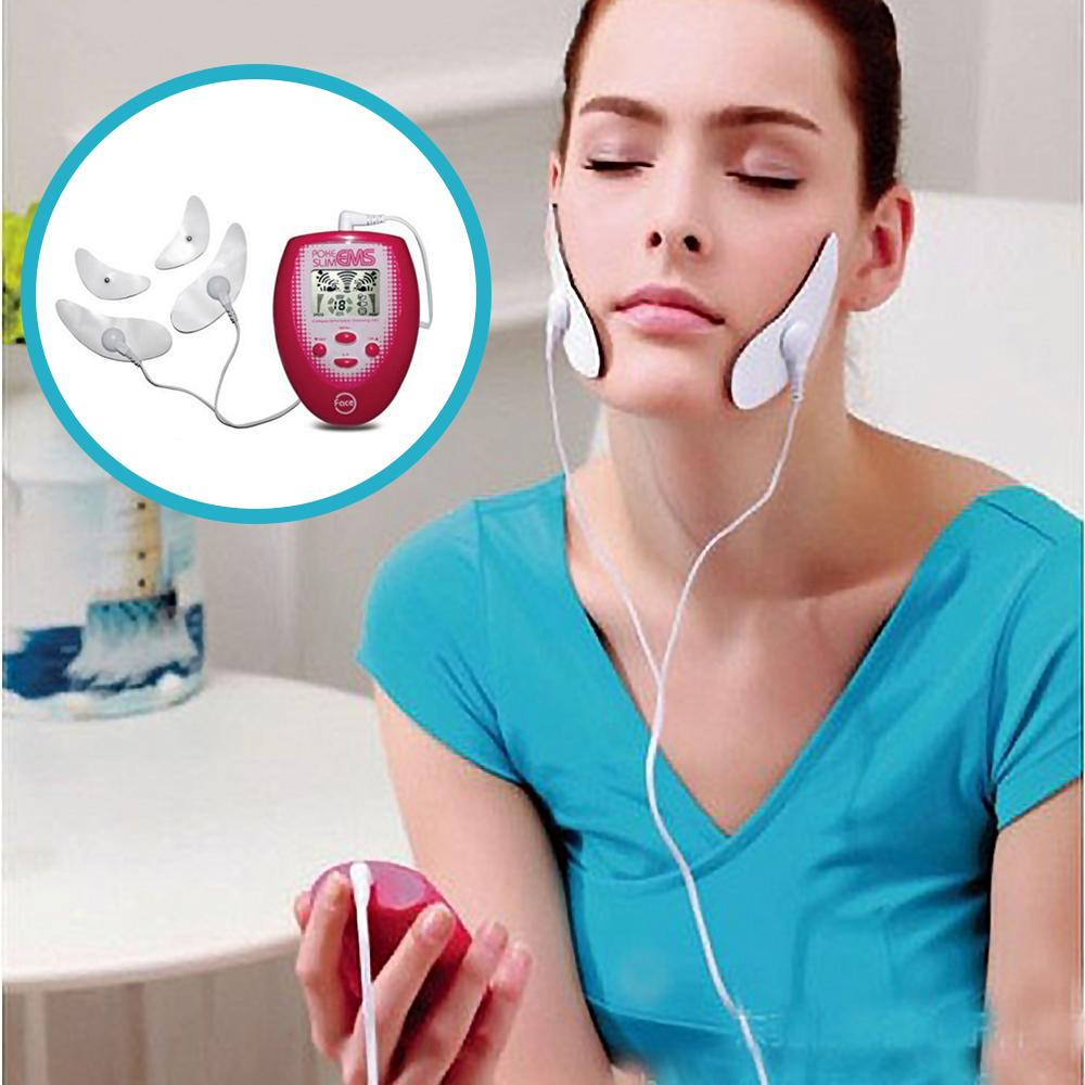 Electric Slimming Facial Massager V-Face Trainer Jaw Exerciser EMS Face Body Pulse Muscle Stimulator With Electrode Pads Newest