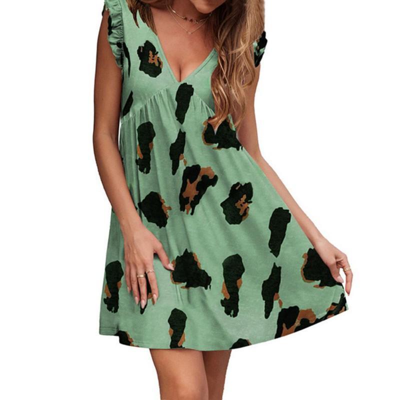 Повседневные платья платье 2021 летние свободные A-Line Vestidos элегантный сладкий лотос листьев в рукавах женщин глубокий V-образным вырезом леопардовый принт