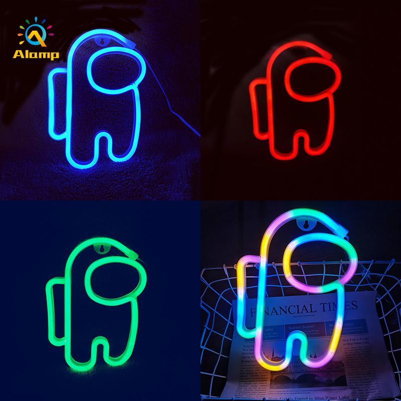 أدى ضوء النيون تسجيل usb متعدد الألوان رائد فضاء قطاع الجدار أضواء ليلة مصباح ل غرفة عطلة حزب ديكور بارد هدية عيد الميلاد عيد