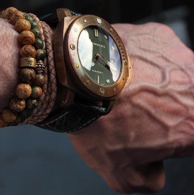 47 мм бронзовый чехол мужские часы Мужская наручные часы водонепроницаемый сапфир кристалл натуральный кожаный ремешок 00968 00382 00507 00671 968 382 507 671 автоматическое движение