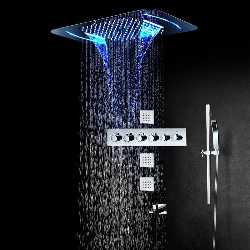 Sistema de ducha de baño de lujo Sistema de lluvia Termostática Válvula LED Conjunto de techo incrustado Cabeza de spa de acero inoxidable Conjuntos de cromo