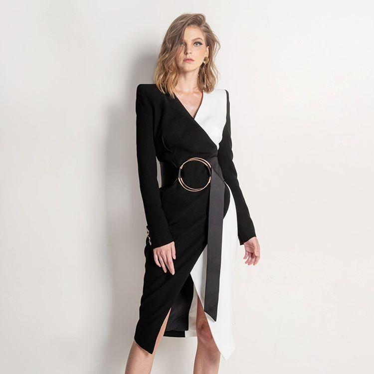 عارضة فساتين عالية الجودة خليط بلون أسود أبيض عميق الخامس الرقبة طويلة الأكمام الدائري كريسس الصليب مكتب النساء رايون ضمادة اللباس
